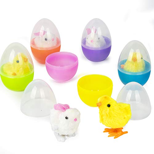 Kingyee Large Easter Eggs Filled with Wind-up Chicks and Bunny Toys Clear Plastic Easter Egg Buckets Staffers for Kids Toddlers Set of 6 4.75-Inch Eggs