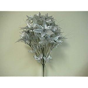 JumpingLight Silver Christmas Poinsettia Bush 24 Artificial Silk Flower 24'' Bouquet 3024SL Artificial Flowers Wedding Party Centerpieces Arrangements Bouquets Supplies 79