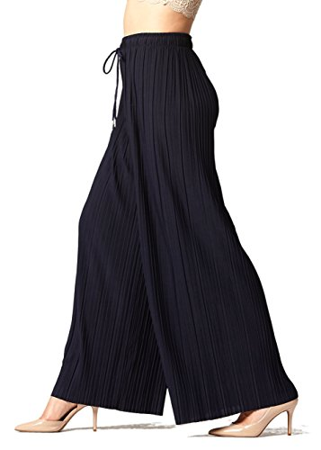 Conceited Women's High Waisted Wide Leg Pleated Palazzo Pants - Solid Black - Plus Size - 902-Black-Plus