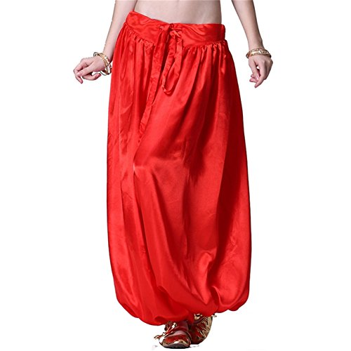 Belly Dance Pant Satin Latern Pants Dancing Tribal Harem Pants Belly Dance Costume (Red Belly Dancing Costume)