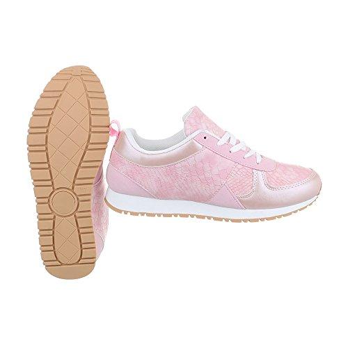 Ital-Design Sneakers Low Damenschuhe Sneakers Low Sneakers Schnürsenkel Freizeitschuhe Rosa 6150