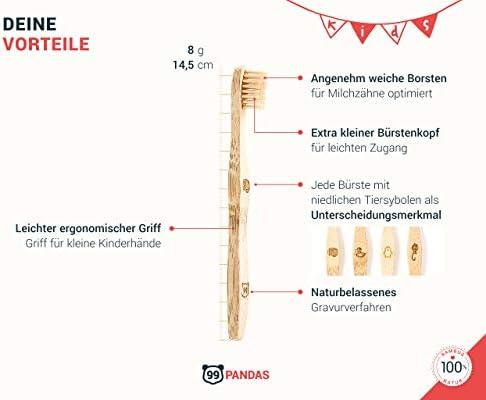 99PANDAS® | Cepillo de dientes infantil sostenibles Conjunto de 4 ...