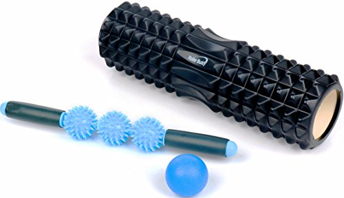 Muscle Massage Foam Roller Kit Back Massager Roller - 4 in 1 Best Trigger Point Massage Tool Lacrosse Roller Ball Massager Stick by Roller Buddy