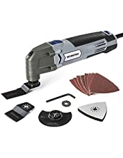 WORKPRO Oscillating Multi Tool, 300W, 6 Variable Speeds 10000-23000rpm, Multi Purpose for Sanding Scraping Cutting Polishing Grinding Grout Removal, Includes 16-Piece Universal Accessories