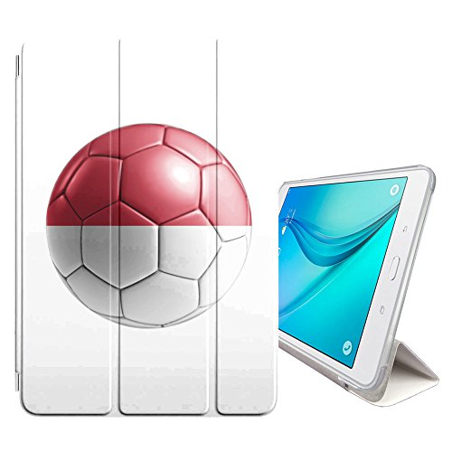 Monaco Series Glass - STPlus Monaco Monégasque Soccer Football Ball Flag Cover Case + Sleep/Wake Function + Stand for Samsung Galaxy Tab E Lite 7