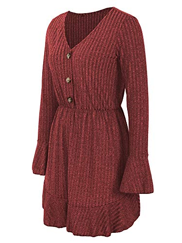 Leepus Fashion Women Mini Dress Solid V Neck Flare Long Sleeve Elastic Waist Slim Elegant Sweet Dress Red