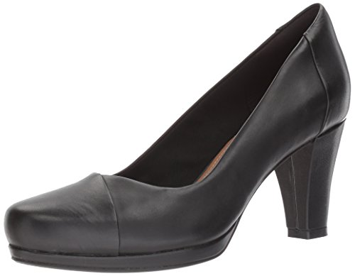 Clarks Women's Chorus Carol Dress Pump, Black Leather, 9.5 M US