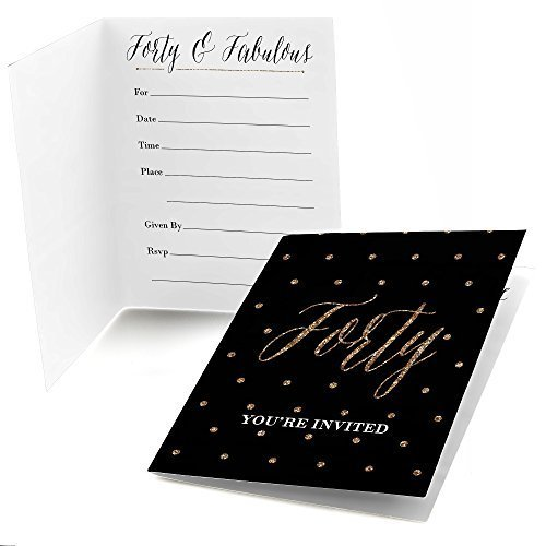 Chic 40th Birthday - Black and Gold - Fill in Birthday Party Invitations - Set of 24 -