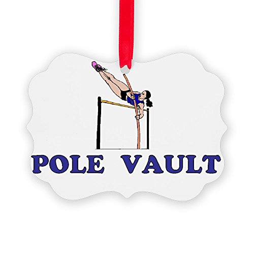 (CafePress 3-Pole Vault Girl Blue Christmas Ornament, Decorative Tree Ornament)