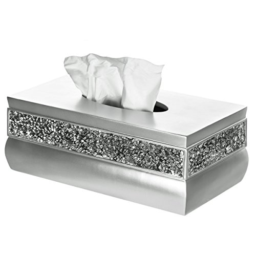 Creative Scents Brushed Nickel Rectangle Tissue Box Cover, Decorative Bathroom Tissues Paper Napkin Holder, Bottom Slider (Country Tissue Dispenser)