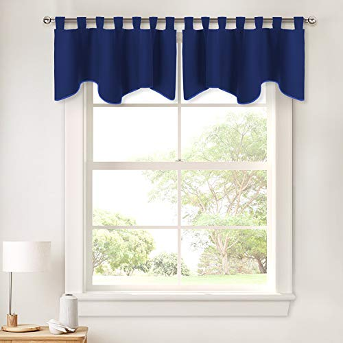 - PONY DANCE Bedroom Window Valances - Scalloped Curtain Blackout Tier Home Decor Short Drapes Solid Color Valance Window Dressing Match for Living Room, 52 x 18 Inch, Purplish Blue, Set of 2