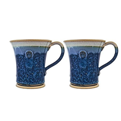 Mug Pottery Beer (CASTLE ARCH POTTERY Handmade Irish Coffee Tea & Beer Mugs. Set of Two Hand-Thrown Cups (Hampton Blue))