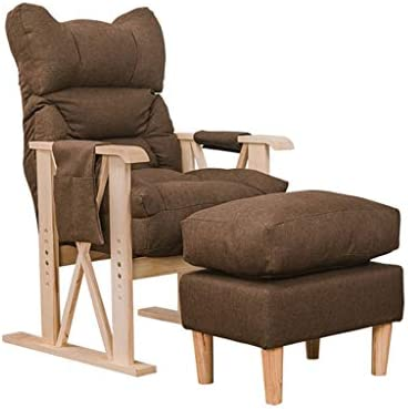 デッキチェアダイニングチェア背もたれアームチェア化粧台コンピューターチェア読書椅子妊娠中の女性の椅子レジャーソファ椅子更衣室用チェア (Color : Brown)