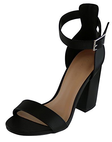 Cambridge Select Womens Single Band Ankle Strappy Chunky Stacked Heel Dress Sandal Black Pu VWgrWdh
