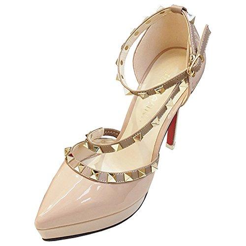 Azbro Mujer Zapatos de Tacón Alto Remache con Plataforma Puntera Punta Rosa