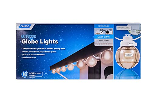 Camco 42751 Decorative RV Awning Globe Lights - 10 Bronze Globes on White Wire,  Fits Directly into Your RV Awning Track, Great  for Outdoor Events (Patio Track Outdoor Lighting)