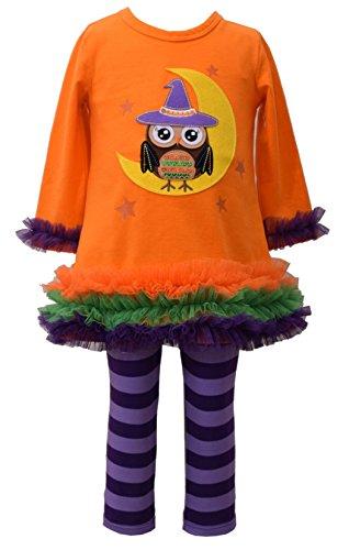 Bonnie Jean Girl's Orange Owl Witch Knit Halloween Pant Set (6-9 -