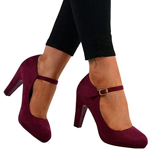 Womens Mary Jane Pumps Block High Heel Platform Ankle Strap Closed Toe Work Shoes