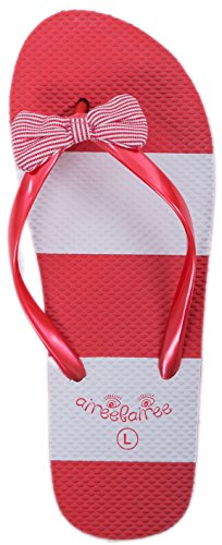 (Airee Fairee Flip Flop Womens Summer Beach Pool Shoes Nautical Stripe Pattern Red)