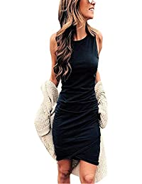Women Casual Crew Neck Ruched Sleeveless Tank Bodycon 2020 Shirt Short Mini Dresses