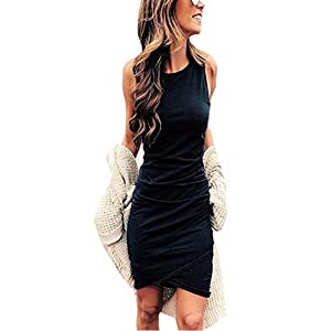 BTFBM Women Casual Crew Neck Ruched Sleeveless Tank Bodycon 2020 Shirt Short Mini Dresses