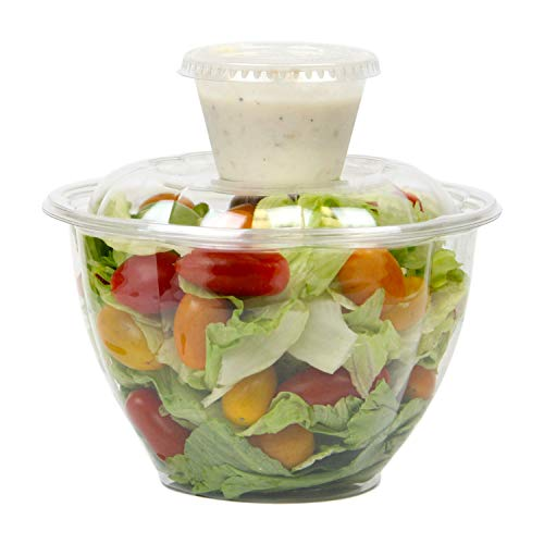 [50 + 60 Pack] 48 OZ BPA Free Clear Plastic Bowl With Dome Lids 4 OZ Dressing Sauce Cup Combo for Salads Fruits Parfaits, Disposable, Large Size ()