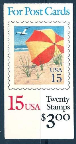 US 1990 Beach Umbrella Booklet of Twenty 15-Cent Postage Stamps, Catalog No BK170