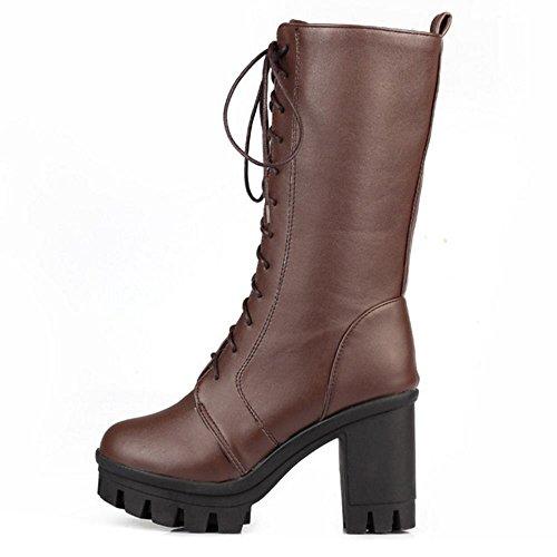 COOLCEPT Women Comfort Block Heel Platform Half Boots Lace Up Brown viKjcB0S