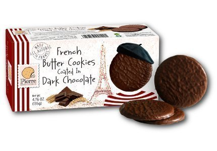 Chocolate Coated Cookies - Biscuiterie De L Abbaye, Cookie Pierre French Butter Coated With Dark Chocolate, 4.76 Ounce