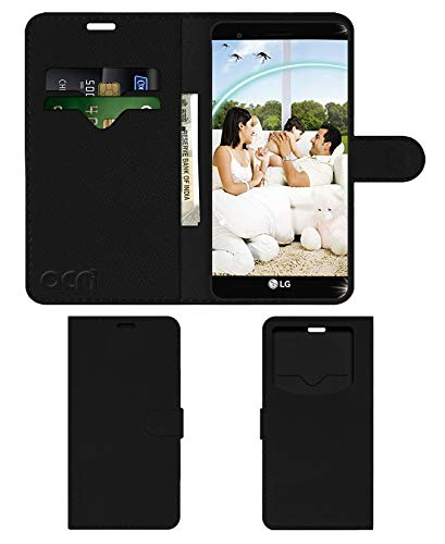 acm Leather Window Flip Cover Wallet Cover Case Compatible with lg k7i Mobile Cover Black