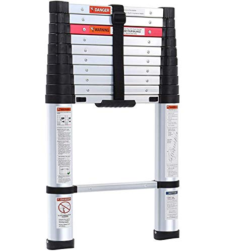 Lionladder 10.5FT Aluminum telescoping ladders ANSI Type IA- Extendable Slow-Down Telescopic Ladder (Black)