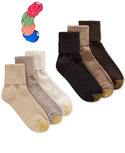 Gold Toe Women's 6 Pack Turn Cuff Socks / 6 Free Sock Clips Included ($5 Value) (Oatmeal/Khaki/Bark/Brown/Coffee/Black)