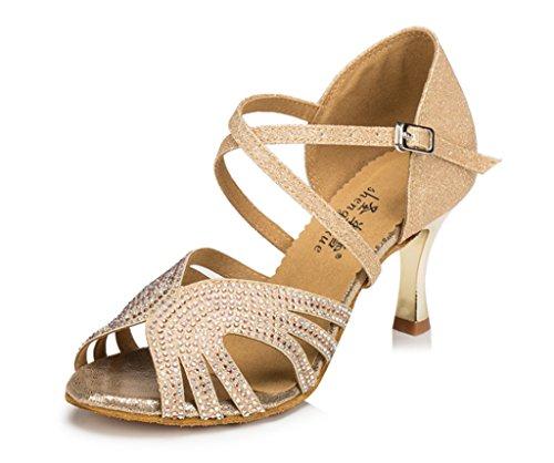 Crc Donna Elegante Peep Toe Strass Glitter Materiale Sala Da Ballo Morden Salsa Latino Tango Partito Da Sposa Professionale Sandali Da Ballo Oro