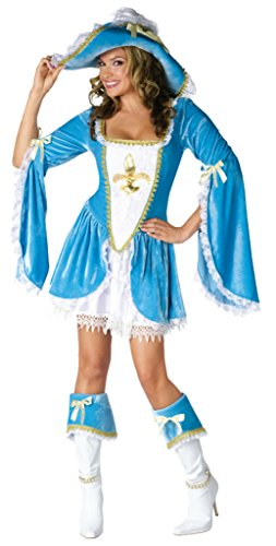 Funworld Womens Madam Musketeer Disney Sexy Blue Theme Party Halloween Costume, S/M (2-8)