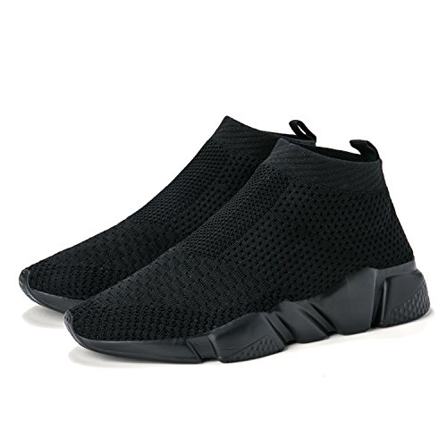 Men's Running Lightweight Breathable Casual Sports Shoes Fashion Sneakers Walking Shoes (44 M EU/10.5 D(M) US, All Black)