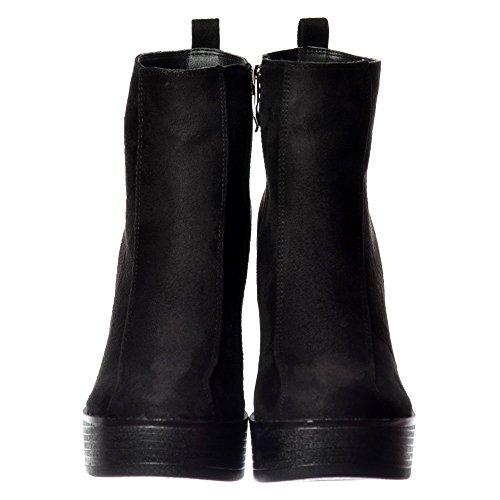 Nero Stivali Caviglia Alto Tallonate Piattaforma Onlineshoe Camoscio Chelsea Classico Femminile 8xaqgw1F