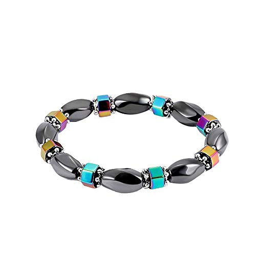 fun-ttore Lovely Men Women 1Pc Weight Loss Round Black Stone Magnetic Therapy Bracelet Health Care Stretch Bracelet,k ()