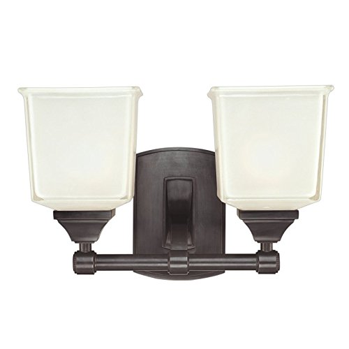 - Lakeland 2-Light Vanity Light - Old Bronze Finish with Clear/Frosted Glass Shade
