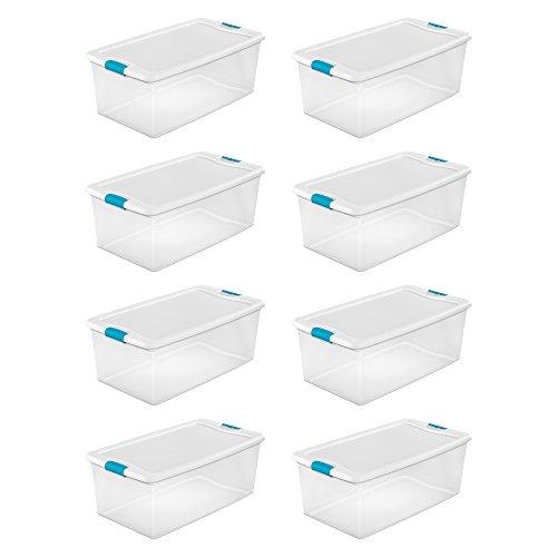 Sterilite 1499 106-Quart Clear Latching Stacking Storage Box, 8 Pack by Sterilite