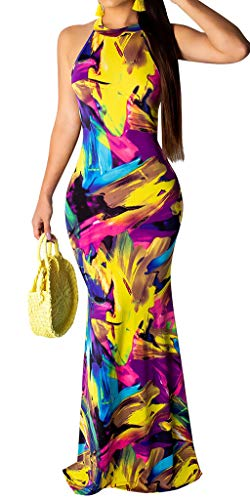 Women's Summer Halter Tank Tie Dye Maxi Dress Bodycon Floor Length Party Evening Dress Gown Colorful M -