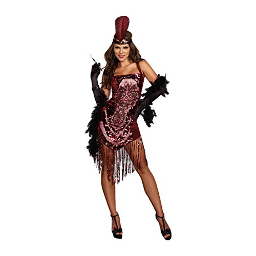 Dreamgirl Women's Gatsby Girl 1920's Flapper Costume, Burgundy, Small (Sexy Halloween Girl)