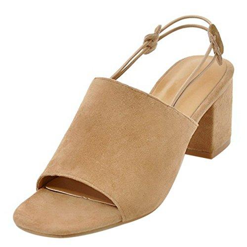 COOLCEPT Mujer Moda sin Cordones Sandalias Punta Abierta Tacon Ancho Slingback Zapatos Albaricoque