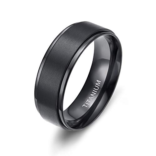 8MM Comfort Fit Titanium Wedding Band | Engagement Ring with Black Plated and Brushed Top finish | Grooved Polished Edges(8.5)