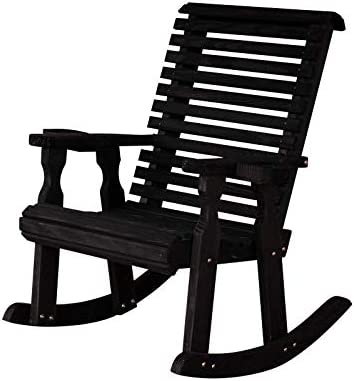 Amish Heavy Duty 600 Lb Roll Back Pressure Treated Rocking Chair with Cupholders Semi-Solid Black Stain