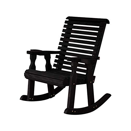 Amish Heavy Duty 600 Lb Roll Back Pressure Treated Rocking Chair with Cupholders (Semi-Solid Black Stain)