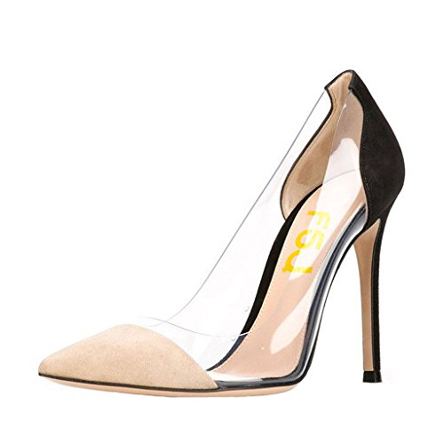 discount browse outlet websites FSJ Women Elegant Stiletto Clear Pumps High Heels Slip On Party Wedding Dress Shoes Size 4-15 US Black marketable cheap price outlet amazon VPT36