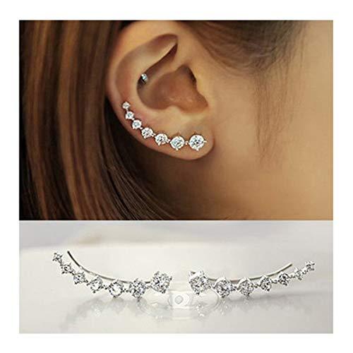 NewAmaz 7 Crystals Ear Cuffs Hoop Climber S925 Sterling Silver Earrings Hypoallergenic Earring