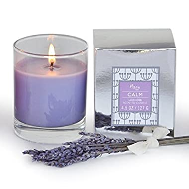 Manu Home CALM Lavender Scented Aromatherapy Candle ~ Made with Quality Aromatherapy Oils for Relaxation ~ Great for Any Home Décor ~ Natural Wax blend ~ Unique and Amazing Smelling Spa Candles ~ Perfect As a Gift, or for Your Own Home ~ 4.5 oz Made in USA.