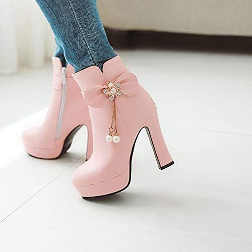 Martins Blanco Moda 35 Booties Zapatos Bowknot 2018 Botas De Rhinestone Rosado negro Super color Heel ladies Mujer Tamaño High Boots botines invierno Rosa Otoño Para qTTFxUX