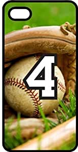 Baseball Sports Fan Player Number 4 Black Plastic Decorative iphone 5s Case